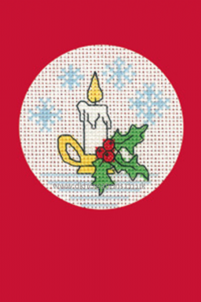 Candle Christmas Greetings Card Red Cross Stitch Kit